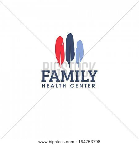 Family health center logo design vector template. Colorful feathers icon