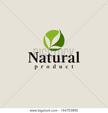 Natural product logo design vector template. Leaf icon