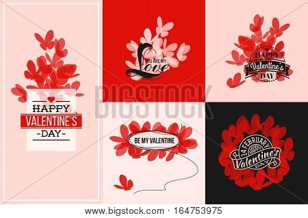 Beautiful cards with red and white butterflies. Vector illustration