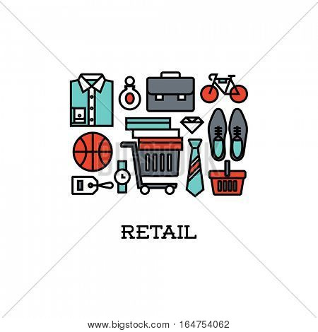 Flat line icons set of retail. Creative design elements for websites, mobile apps and printed materials