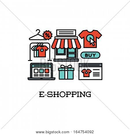 Flat line icons set of e-shopping. Creative design elements for websites, mobile apps and printed materials