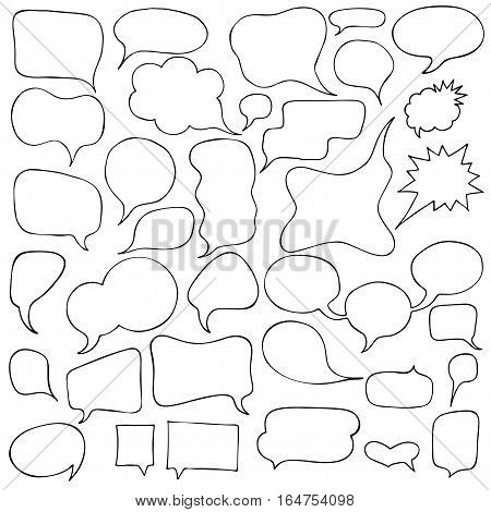 Set of Cartoon Speech and Thought Bubbles. Vector illustration