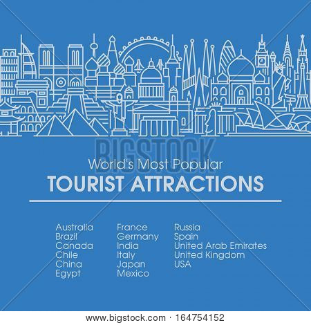 Flat line design style illustration of world's most popular tourist locations. Modern vector background for traveling, summer vacation, tourism and journey concepts