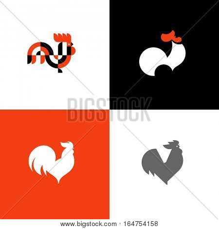 Rooster and cock. Flat design style vector illustrations set of icons and logos