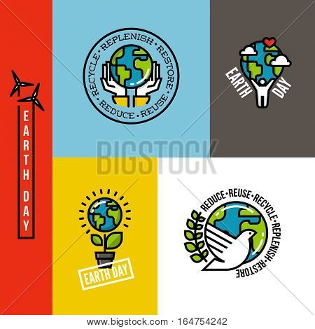 Ecology, go green and eco-friendly concepts with Earth planet, human hands and peace dove. Set of environmentally themed flat line vector illustrations