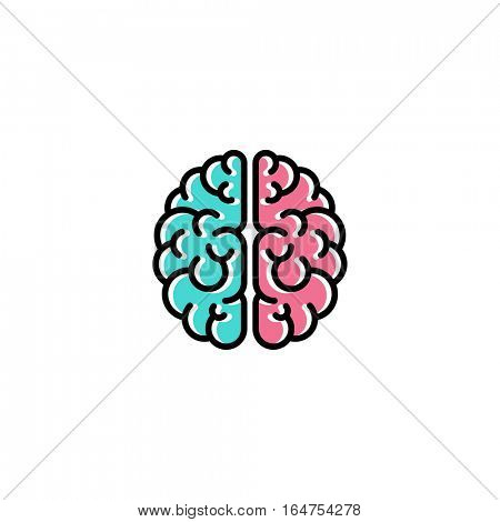 Flat line icon of brain. Creativity logo template
