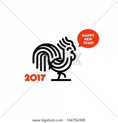 New Year design with cute striped rooster. Modern minimalistic vector illustration of fire cock as symbol of 2017 year on the Chinese calendar. Funny rooster logo