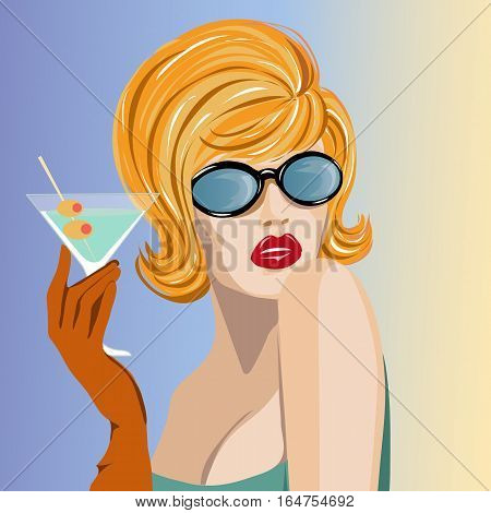 Beautiful Woman With Martini Glass Pop Art Portrait, Pin Up Summer Look Vector Illustration