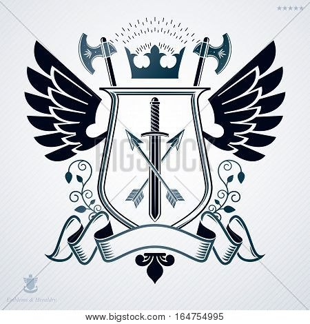 Vector emblem created in vintage heraldic design with hatchets and sword