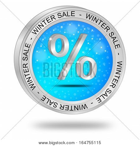 glossy blue Winter Sale Button - 3D illustration