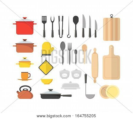 Cartoon Cookware Set Kitchen Utensils for Home and Restaurant Flat Design Style. Vector illustration