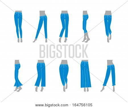 Cartoon Jeans Model for Women Fashion Basic Types Cloth Flat Design Style. Vector illustration