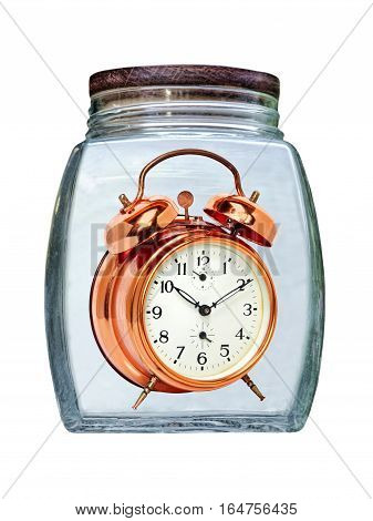 Canned time concept.Retro Golden Alarm Clock preserved in glass jar isolated on white background.