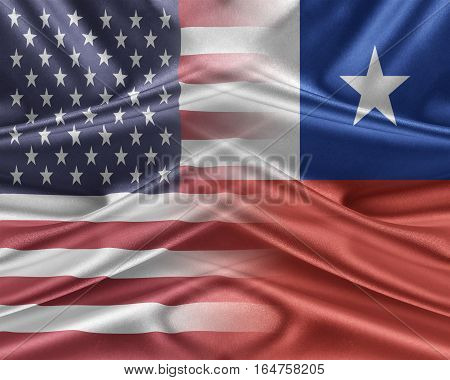 USA and Chile. Relations between two countries. 3D illustration.