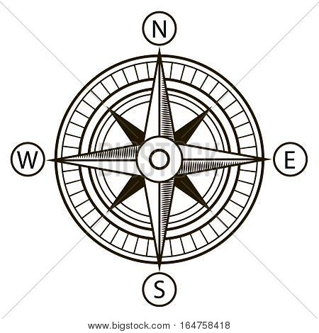 Compass or Wind Rose Nautical Marine Navigation in Line Art Style Element Travel. Vector illustration