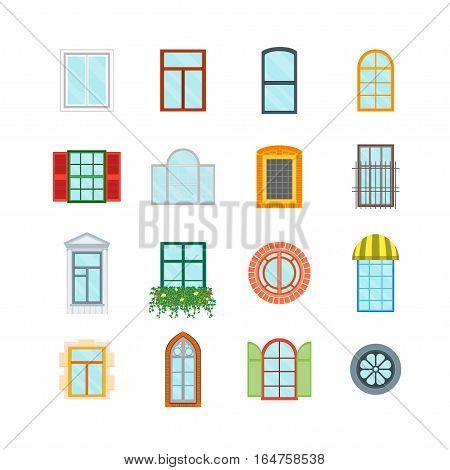 Cartoon Glass Windows Set Decoration Building Construction Element Urban Street Flat Design Style. Vector illustration