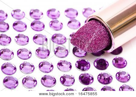 lipstick on white background with strasses
