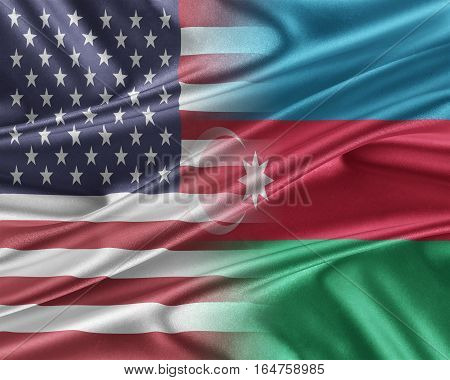 USA and Azerbaijan. Relations between two countries. 3D illustration.