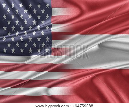 USA and Austria Relations between two countries. 3D illustration.