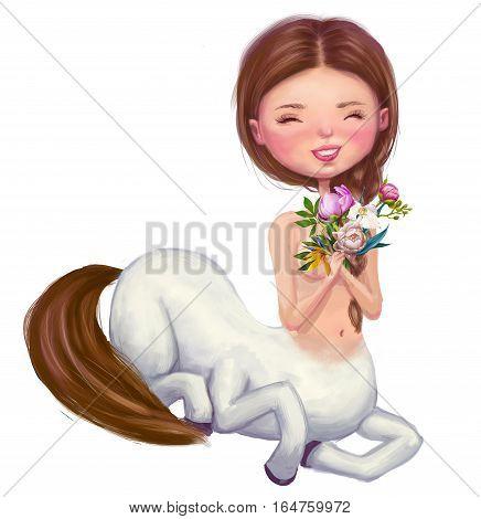 cute cartoon happy centaur girl with bouquet