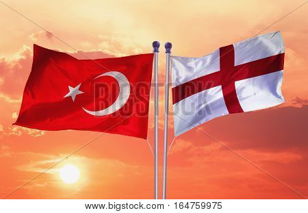ENGLAND flag with Turkey flag, 3D rendering