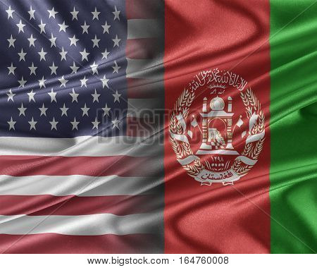 USA and Afghanistan. Relations between two countries. 3D illustration.