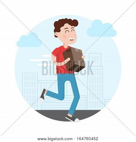 Delivery man,boy runs with a box in hand in the city. Delivery, shipping, logistics service.Flat style illustration