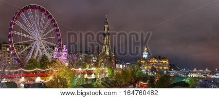 Edinburgh Scotalnd UK - November 14 2016: Edinburgh skyline at night