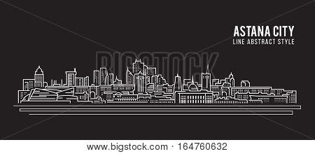 Cityscape Building Line art Vector Illustration design - Astana city