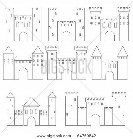 Set of medieval castles on white background, vector illustration