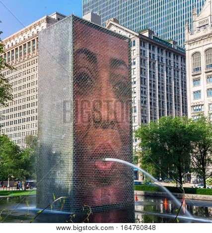 Chicago US -July 18 2016. The Crown Fountain at Millenium Park
