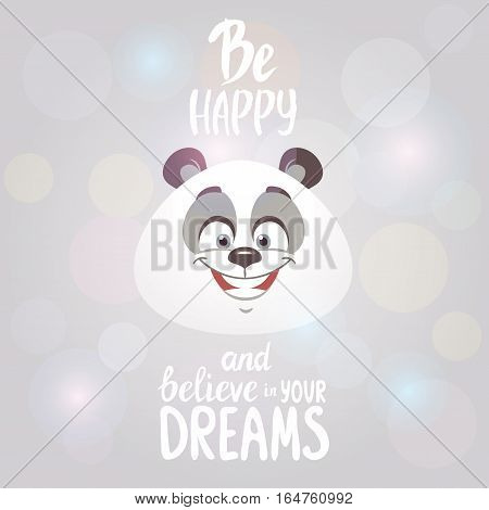 Funny and cute cartoon emoticons panda with motivation phrase. Vector illustration. Happy character bear