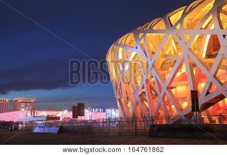 BEIJING CHINA - OCTOBER 28, 2016: Contemporary architecture of National stadium Bird's nest and National Aquatics Centre.