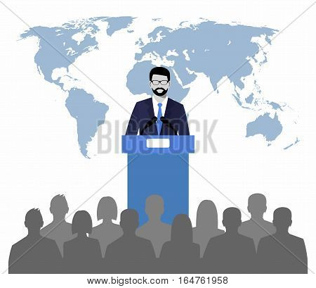 orator speaking from tribune on a background map of the world. public speaker and crowd