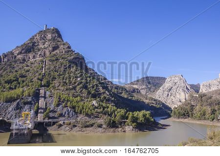 Hydro-electric power plant and dam Chorro Gorge Malaga Andalucia Spain