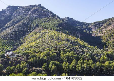 House of the hill at Gorge of the Gaitanes and Caminito del Rey path Malaga Spain