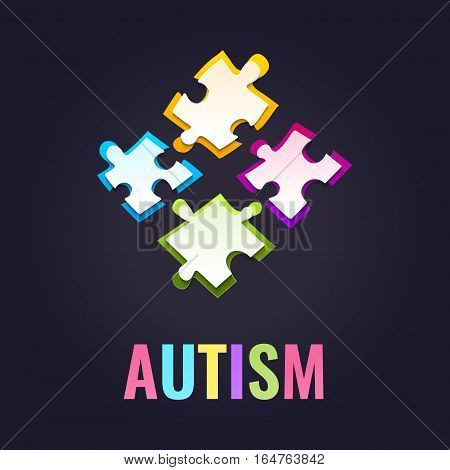 Autism awareness poster with puzzle pieces on dark background. Solidarity and support symbol. Medical concept. Vector illustration.