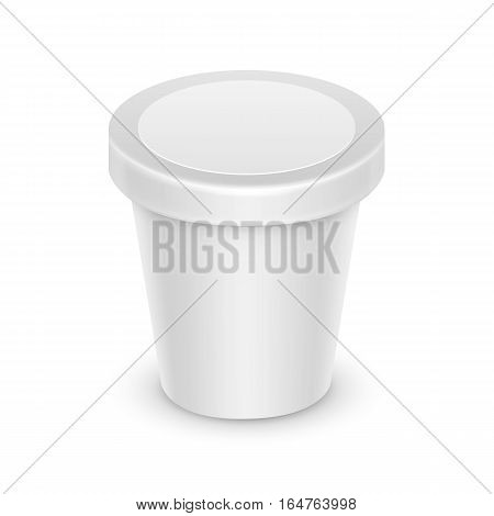 Vector White Blank Food Plastic Tub Bucket Container For Dessert, Yogurt, Ice Cream, Sour Cream with Label for Package Design Mock Up Close up Isolated on White Background