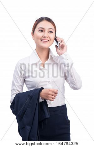 Full length portrait of Beautiful Young Asian Business Woman listening to mobile phone isolated on white background.