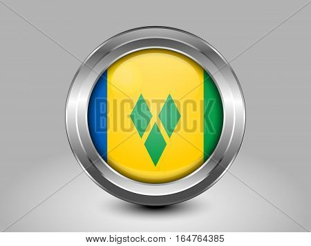 Flag Of Saint Vincent And The Grenadines. Metal And Glass Round Icon