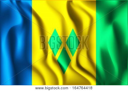 Flag Of Saint Vincent And The Grenadines. Rectangular Shaped Icon With Wavy Effect. Aspect Ratio 2 T