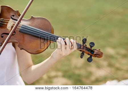 Violinist Woman. Young Woman Playing A Violin