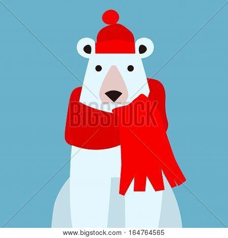 Cartoon Cute Polar Bear Animal in a Cap and Scarf on Blue. Flat Design Style. Vector illustration