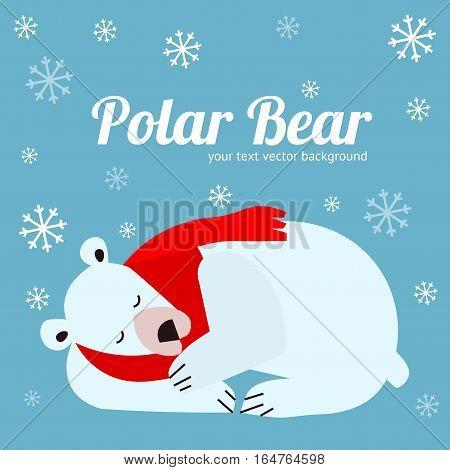 Cartoon Cute Polar Bear Animal Banner Card on Blue. Flat Design Style. Vector illustration
