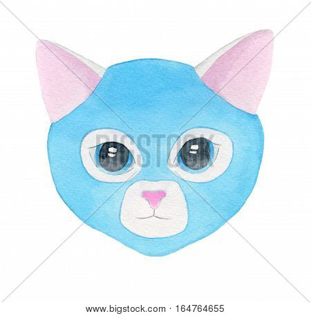 Cat fighter. Luchador or fighter mask. Hand-drawn lucha libre animal in blue wrestling mask - colorful cat in helmet on the white background. Real watercolor drawing