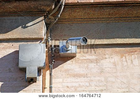 security camera on the wall. cctv surveillance video system