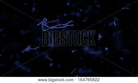 Ebola virus or germs microorganism cells under microscope. Fast multiplication of bacteria. Infection and microbe. Microbiology popular scientific black background. High Quality 3D Render.