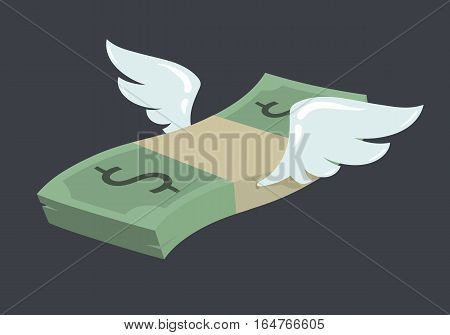 Flying stack of dollar banknotes, winged american currency in flat vector cartoon style