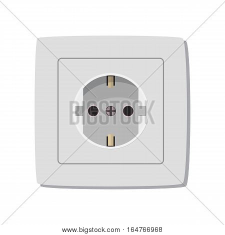 White electric outlet. Vector illustration in flat design