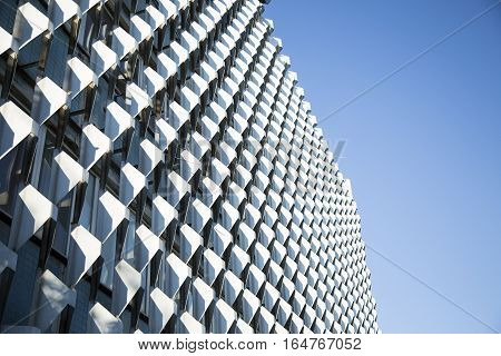 Modern Office Architecture. Close-up Of Glass Facades Of Office Building